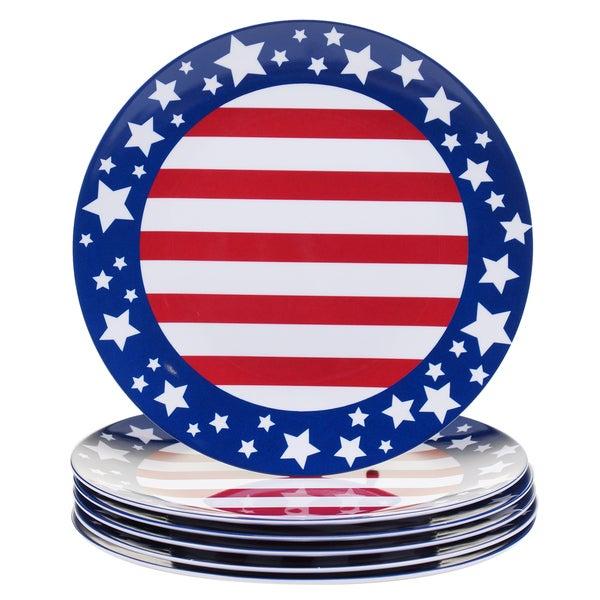 Certified International Stars & Stripes 11-inch Melamine Dinner Plates (Set of 6) 17517941