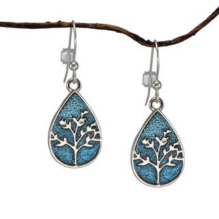 Jewelry by Dawn Small Blue Enamel Tree Of Life Teardrop Earrings
