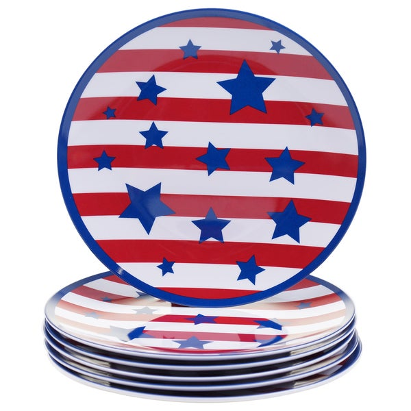 Certified International Stars & Stripes 9-inch Melamine Salad Plates (Set of 6) 17517973