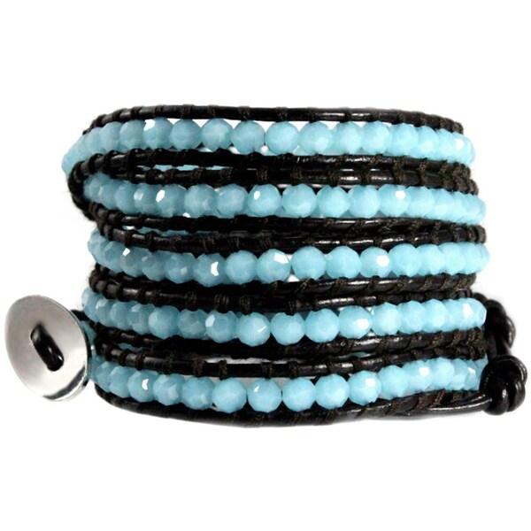 Aegean Cyan Blue Sparkling Faceted Beads on Dark Brown Leather Handmade 5X Wrap Bracelet