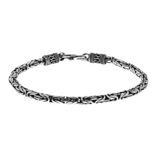 4mm Balinese Byzentine Sterling Silver 9 Inch Bracelet (Thailand)