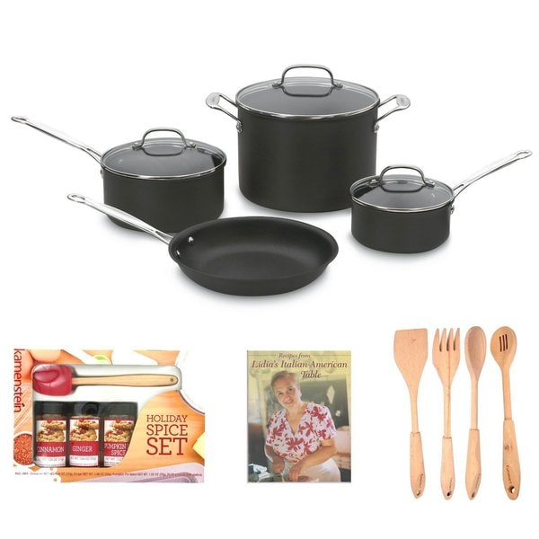 Cuisinart 66-7 7-Piece Chefs Classic Non-Stick Cookware Set + 4-Piece Solid Beechwood Tools + Cookbook + Mini Spatula Spice Set