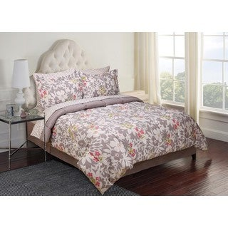 8-piece Printed Floral Complete Comforter Set with Sheets