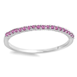 14k White Gold Pink Sapphire Anniversary Wedding Band
