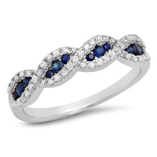 10k Gold 1/3ct Round Blue Sapphire and White Diamond Swirl Stackable Wedding Band (I-J, I2-I3)