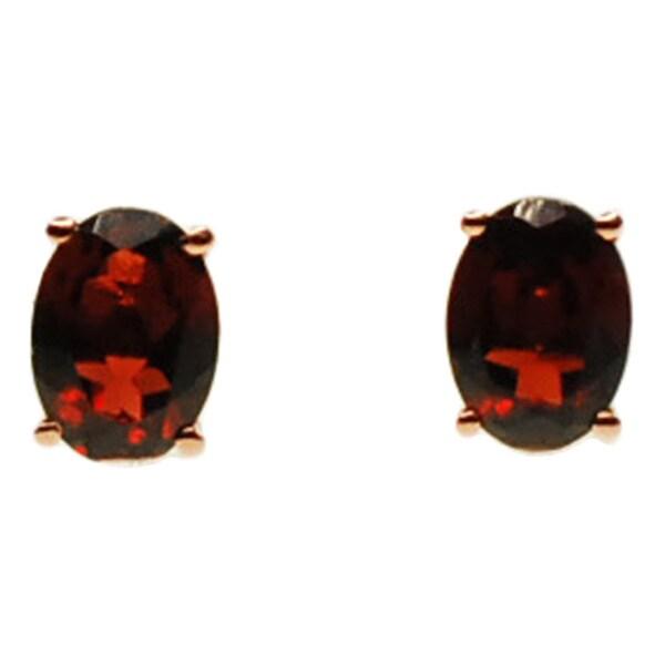 Kabella 14k Rose Gold Oval Garnet Stud Earrings