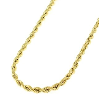 14k Yellow Gold 3mm Hollow Rope Diamond-cut Chain Necklace