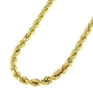 14k Yellow Gold 4mm Hollow Rope Diamond-cut Chain Necklace