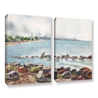 ArtWall 'Irina Sztukowsi's Hazy Morning Crab Cove' 2-piece Gallery Wrapped Canvas Set