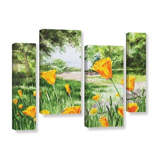 ArtWall 'Irina Sztukowsi's Landscape With California Poppies' 4-piece Gallery Wrapped Canvas Staggered Set