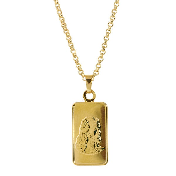 Brass Jesus Ingot Pendant Necklace