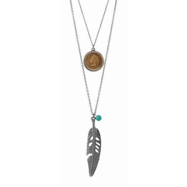 Steel Indian Cent Double Chain Feather Necklace