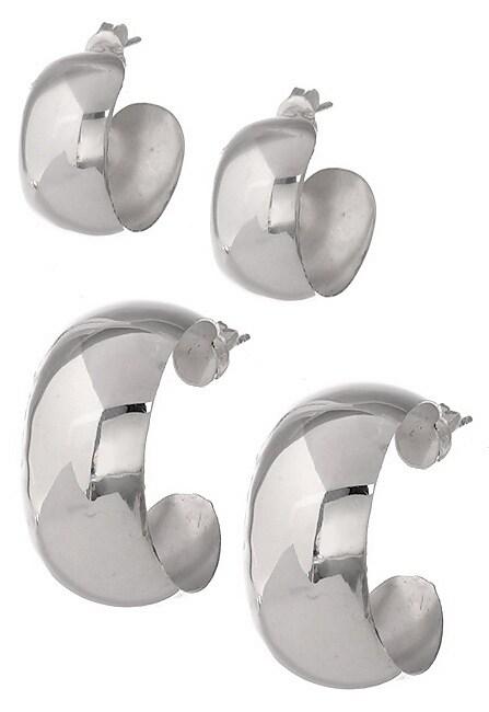 Sterling Silver Wide Hoop Earring Set