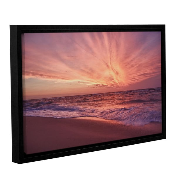 ArtWall 'Dan Wilson's Outer Banks Sunset III' Gallery Wrapped Floater-framed Canvas
