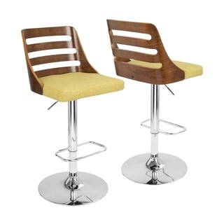 Trevi Mid-century Modern Walnut Finished Adjustable Bar Stool