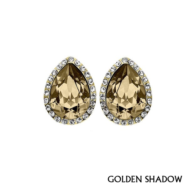 Isla Simone - Gold Plated Tear Drop Earring Austrian Crystal