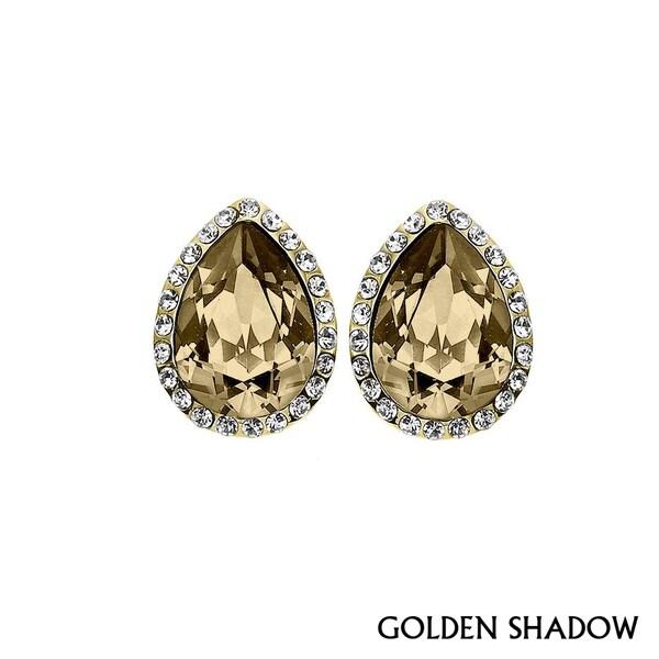 Isla Simone - Gold Plated Tear Drop Earring Austrian Crystal