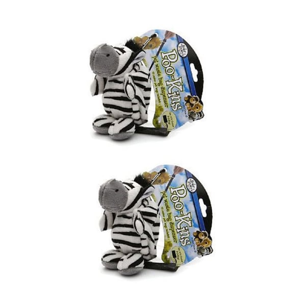 Four Paws Poo-Kins Zebra Dog Waste Pickup Bag Dispenser and Bags (2 Pack)