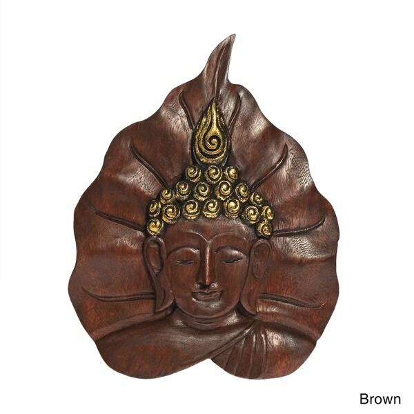 Serene Face of Buddha Brown Pho Bodhi Tree Leaf Wall Art (Thailand)