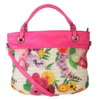 Diophy Floral Faux Leather Woven Pattern Tote Handbag