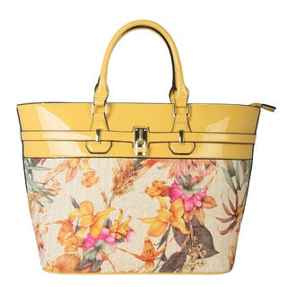 Diophy Patent Faux Leather Floral Tote Handbag