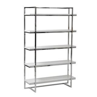 Gilbert 5-Shelf Unit - White Lacquer/Chrome