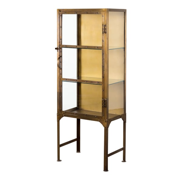 Industrial Brass Display Cabinet