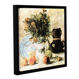 ArtWall 'Vincent VanGogh's Vase of Flowers' Coffee Pot' and Some Fruit' Gallery Wrapped Floater-framed Canvas
