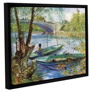 ArtWall Vincent VanGogh's 'Fishing in Spring the Pont de Clichy (Asnieres)' Gallery Wrapped Floater-framed Canvas