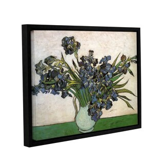 ArtWall 'Vincent VanGogh's Vase with Purple Irises Against a Pink Background' Gallery Wrapped Floater-framed Canvas
