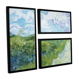 ArtWall 'Vincent VanGogh's Field with Green Wheat' 3-piece Floater Framed Canvas Flag Set