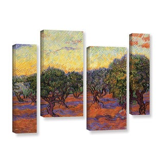 ArtWall 'Vincent VanGogh's Olive Grove with Orange Sky' 4-piece Gallery Wrapped Canvas Staggered Set