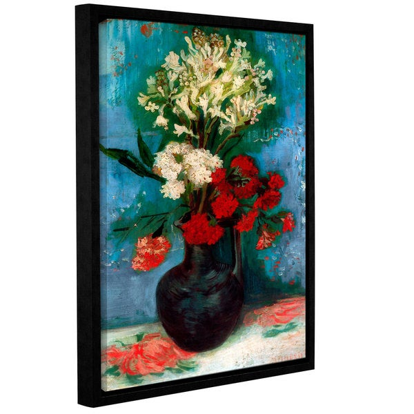 ArtWall 'Vincent VanGogh's Vase with Carnations and Other Flowers' Gallery Wrapped Floater-framed Canvas