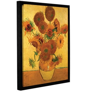 ArtWall 'Vincent VanGogh's Vase with Fifteen Sunflowers' Gallery Wrapped Floater-framed Canvas