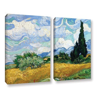 ArtWall 'Vincent VanGogh's Wheatfield with Cypresses' 2-piece Gallery Wrapped Canvas Set