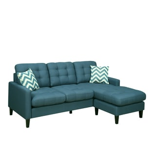 Porter Harlow Deep Teal Contemporary Modern Sofa with Chaise and Woven Chevron Accent Pillows