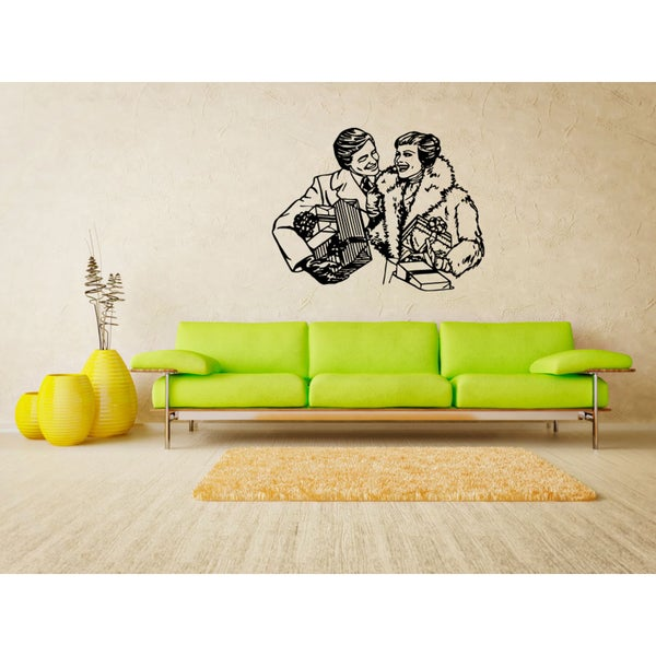 A man and a woman with a gift Wall Art Sticker Decal