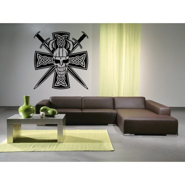 Celtic cross Skull and Sword Wall Art Sticker Decal