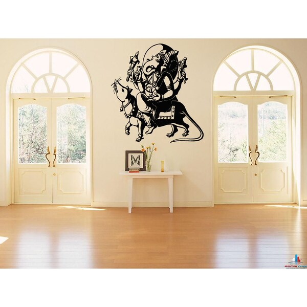 Ganesha Ganapati India Elephant and rat Wall Art Sticker Decal