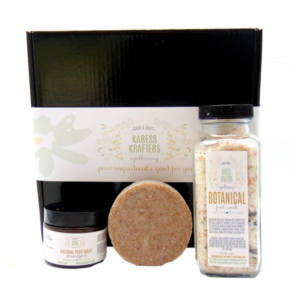 Fancy Feet Gift Set with Botanical Foot Soak, Natural Foot Balm with Neem and Natural Foot Soap by Karess Krafters Apothecary
