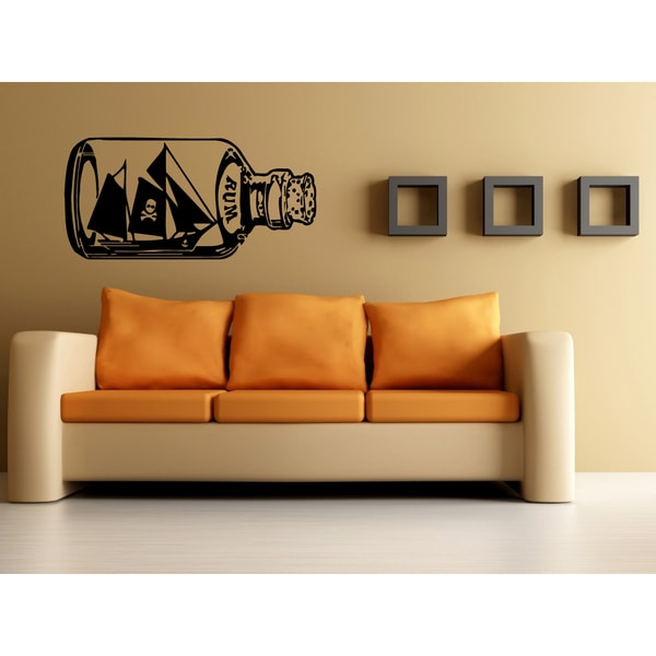 Pirate Ship in a Bottle Wall Art Sticker Decal