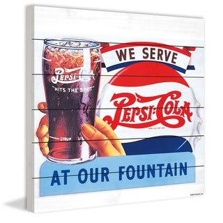 Marmont Hill - 'We Serve Pepsi at Our Fountain' Painting Print on White Wood