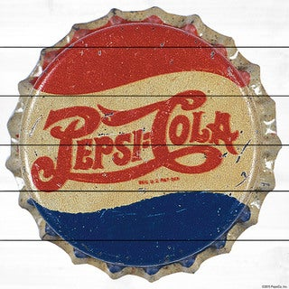 Marmont Hill - 'Pepsi-Cola Bottle Cap' Painting Print on White Wood