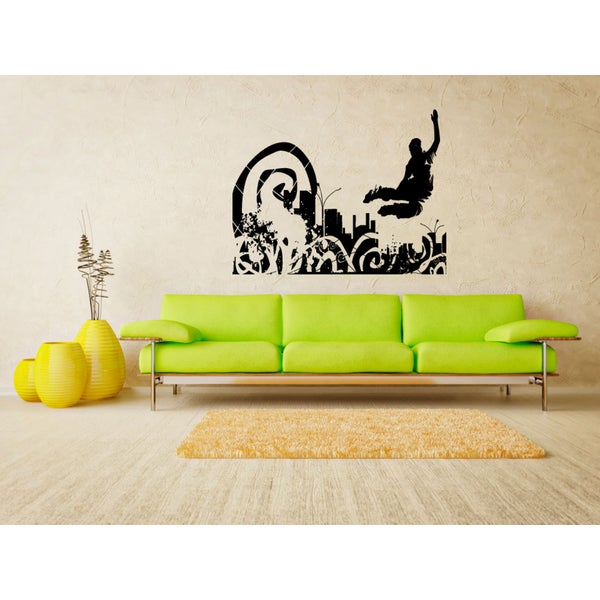 Roller Man Bounce and the City Wall Art Sticker Decal