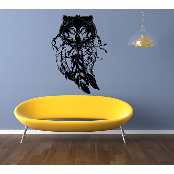 Dreamcatcher Feathers and Wolf Wall Art Sticker Decal