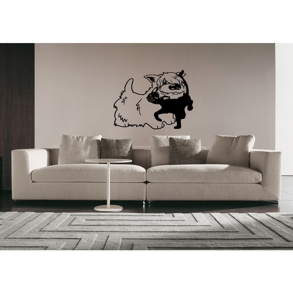 West Highland Dog Puppy and cat Wall Art Sticker Decal