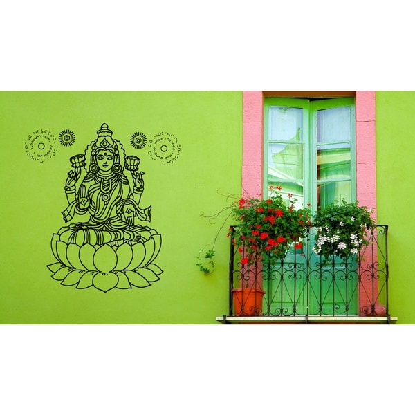 Lakshmi Hindu goddess of wealth Lotus The sun Wall Art Sticker Decal