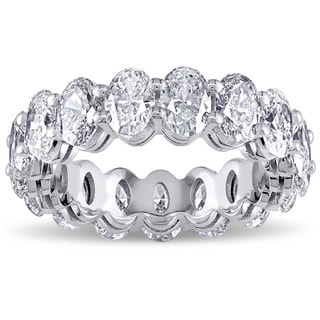Miadora Signature Collection 19k White Gold 5 3/8ct TDW Oval-cut Diamond Eternity Ring (E-F, SI1-SI2)