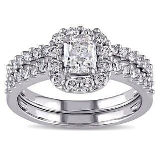 Miadora Signature Collection 14k White Gold 1 1/6ct TDW Radiant-cut Diamond Halo Bridal Ring Set (G-H, I1-I2)