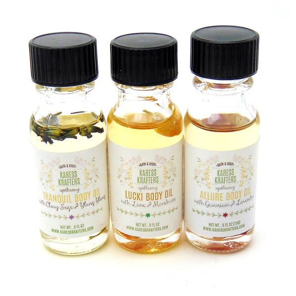 Natural Body and Massage Oil Sampler Aromatherapy Gift Set by Karess Krafters Apothecary